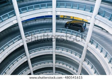 Circular ramp in parking garage Сток-фото ©