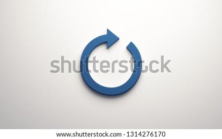 Circular Redo Arrow. 3D Blue Render Illustration