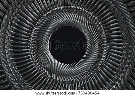 Stock Photo Circular repeated metal pieces pattern 3d illustration