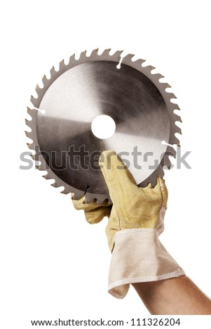 Circular Saw Blade For Cutting Plastics in hand, safety glove