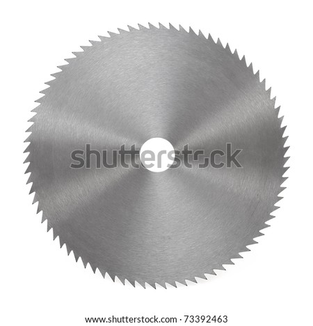 Circular saw blade for wood isolated on white - stock photo