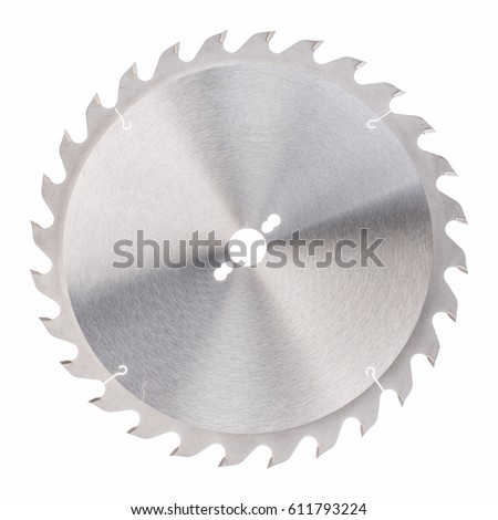 Circular saw blade for wood work isolated on white #611793224