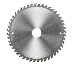 Circular saw blade for wood work isolated on white, included clipping path