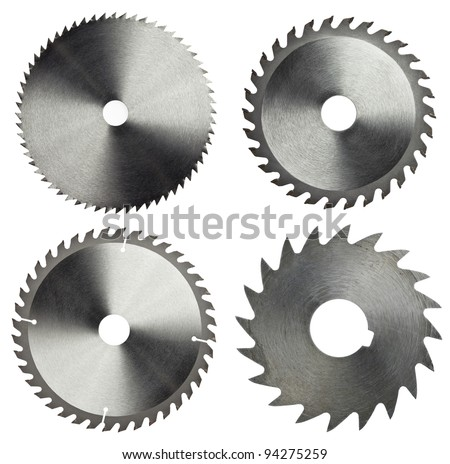 Circular saw blades for wood work - stock photo