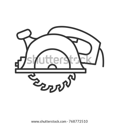Circular saw linear icon. Thin line illustration. Disc saw. Contour symbol. Raster isolated outline drawing