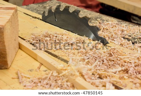 Circular saws and sawdust in workshop
