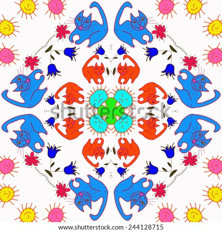 Circular seamless pattern of colored floral motifs, cats   on a  white background. Hand drawn.