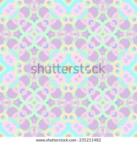 Circular seamless pattern of colored spots, stars on a light purple background.