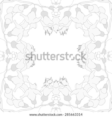 Circular  seamless pattern of  floral garland, branches, stripes, spots, wave, copy space. Hand drawn.