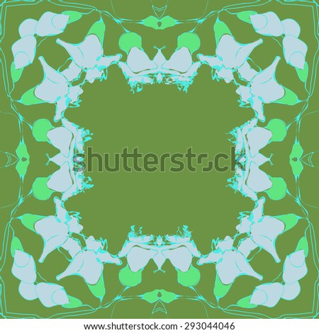 Circular seamless  pattern of  floral garland, branches, waves,  spots. Hand drawn.