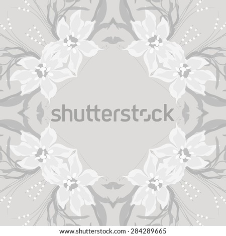 Circular  seamless pattern of  floral garland, flowers, branches, stamens, copy space. Hand drawn.
