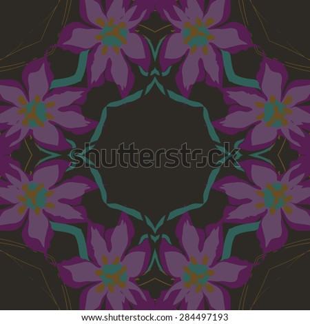 Circular  seamless pattern of  floral garland, flowers, branches, stamens,leaves. Hand drawn.