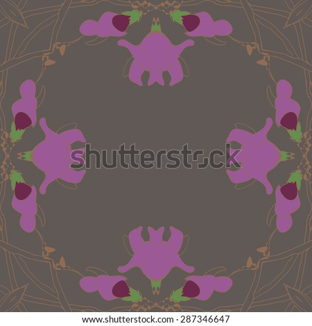 Circular  seamless pattern of floral garland, flowers, branches, wave, copy space. Hand drawn.