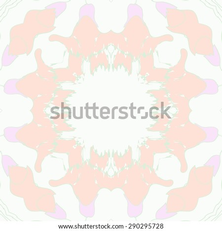 Circular seamless pattern of floral garland, flowers, branches,waves, copy space. Hand drawn.