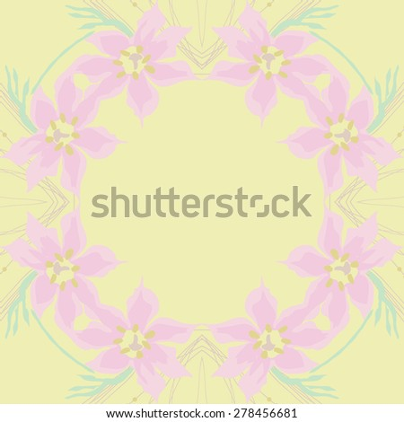 Circular  seamless pattern of floral garland, flowers,leaves, branches,ellipses ,copy space. Hand drawn.