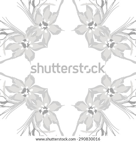 Circular seamless pattern of  floral garland, flowers, leaves, branches, waves, copy space. Hand drawn.