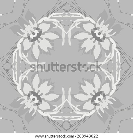 Circular seamless pattern of floral garland, flowers, leaves, waves, spirals, hole, copy space. Hand drawn.