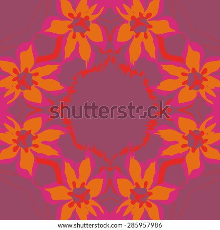 Circular  seamless pattern of  floral garland, flowers, spots, stamens, pistils,wave, copy space. Hand drawn.