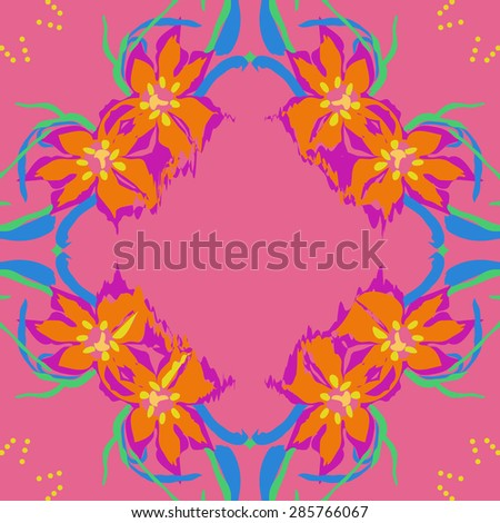 Circular  seamless pattern of  floral garland, flowers, spots, stamens, wave, copy space. Hand drawn.