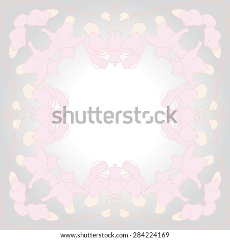Circular  seamless pattern of  floral garland, flowers,stripes,spots, copy space. Hand drawn.