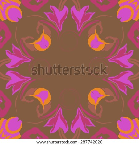 Circular  seamless pattern of  floral garland, leaves, spots,spirals, flowers, copy space. Hand drawn.