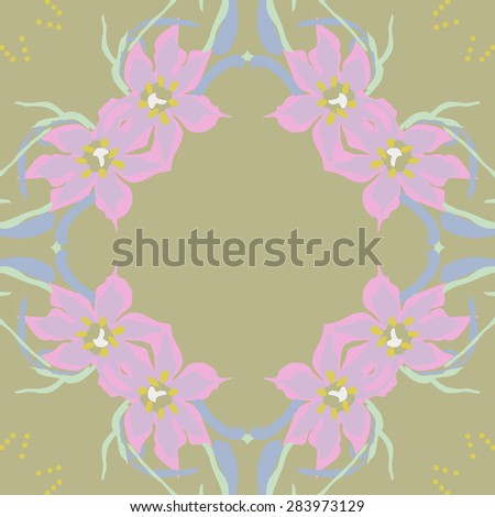 Circular  seamless pattern of floral garland, leaves, stamens, ellipses, copy space. Hand drawn.