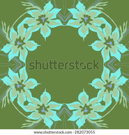 Circular  seamless pattern of  floral garland,  spots,  branches, copy space. Hand drawn.