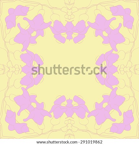 Circular seamless pattern of floral garland,, stylized flowers, branches,stripes, hole, copy space. Hand drawn.