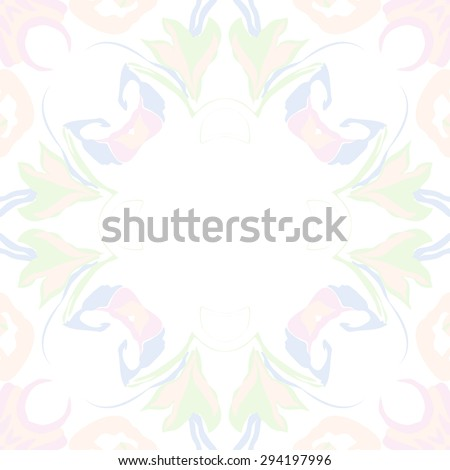 Circular seamless  pattern of floral garland, stylized flowers,  leaves, hole, ellipses, copy space. Hand drawn.