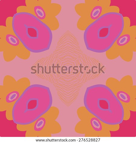 Circular seamless pattern of floral motif, flower, ellipses, stars,flowers. Hand drawn.
