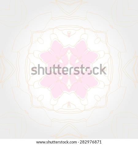 Circular  seamless pattern of floral motif, stripes,  spots, branches, garland. Hand drawn.