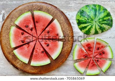 Circular Slices of watermelon as a background. Zdjęcia stock ©