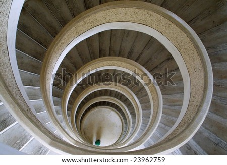 Circular stairs in Chinese temple in Singapore - stock photo