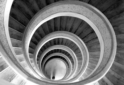 Circular stairs in temple. Black/white