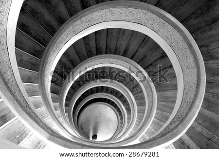 Circular stairs in temple. Black/white - stock photo