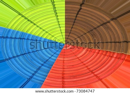 Circular table-cloth - Green, blue, red and brown
