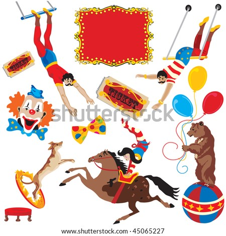 Circus acts clip art party icons isolated on white