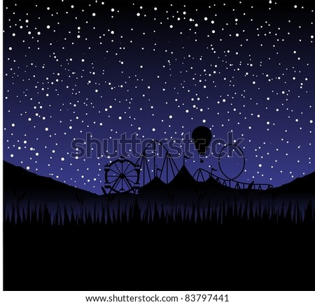 circus at night as a silhouette with stars