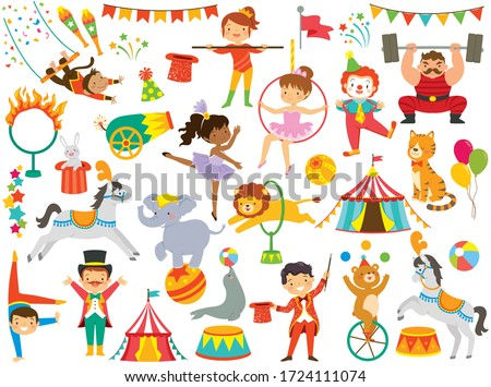 Circus clipart set. Circus animals, circus people and other colorful circus items.