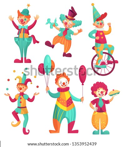 Circus clowns. Cartoon clown comedian juggling, funny clowns nose or jester party circus costume with balloon and happy laughing clowns face.  illustration isolated icons set