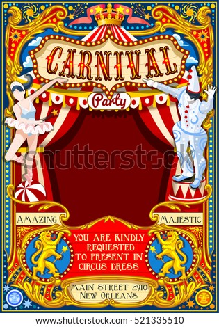circus juggler crazy show retro ...