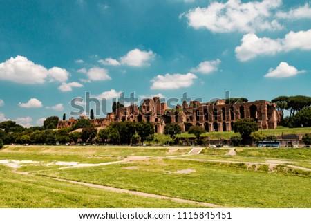 Circus Maximus (Circo Massimo) and ruins of Palatine Hill (Palatino) in sunny spring day, Rome, Italy #1115845451