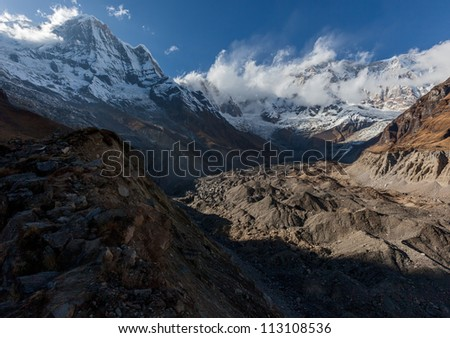 Circus of Annapurna in the evening - Nepal, Himalayas - stock photo