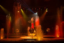 Circus performance, shallow dof, low key photography