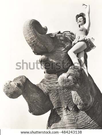 Circus performer posing on elephant