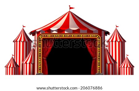 Circus stage tent as a group of big top carnival tents with a red curtain opening entrance as a fun entertainment icon for a theatrical celebration or party festival isolated on a white background.
