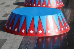 circus stand in red and blue color