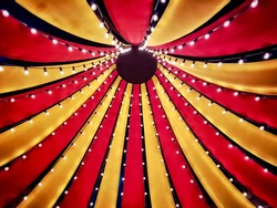 Circus tent top seen from inside