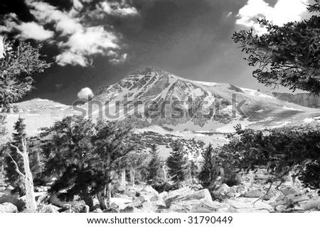 Cirque Peak near Mt. Langley in the Sierra Nevadas, Black and White