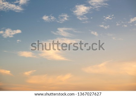 Cirrus cloud in sunset background for forecast and meteorology concept #1367027627